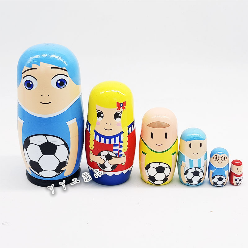 6-Piece Football Players Matryoshka Doll for Gifting to Kids