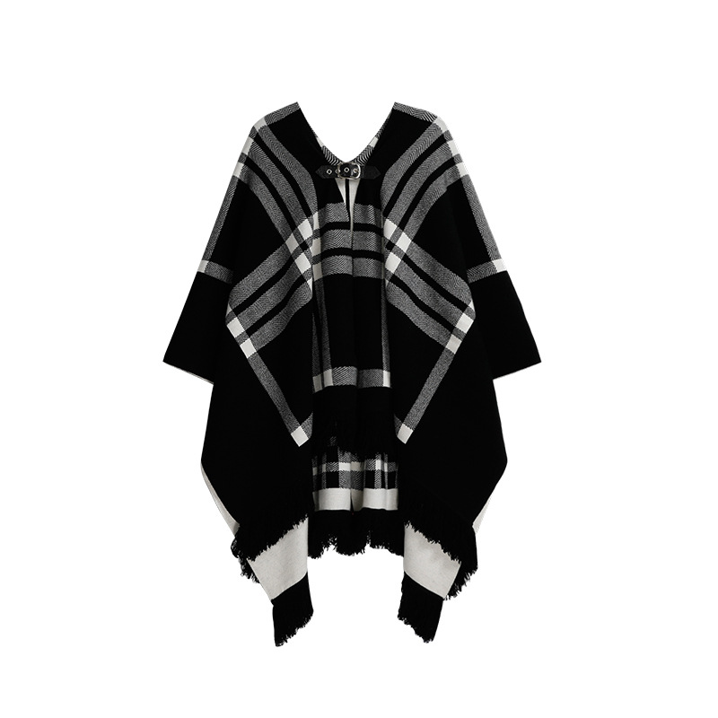 Stylish and Warm Plaid Wearable Scarf for Winter Season