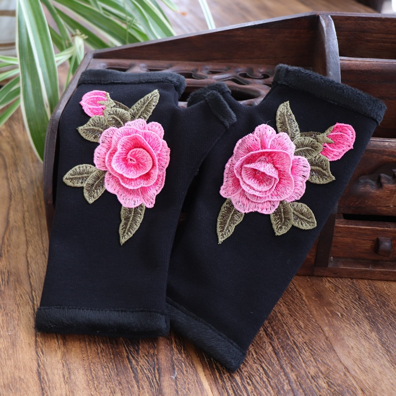 Floral Embroidered Cycling Gloves for Bike and Motor Rides