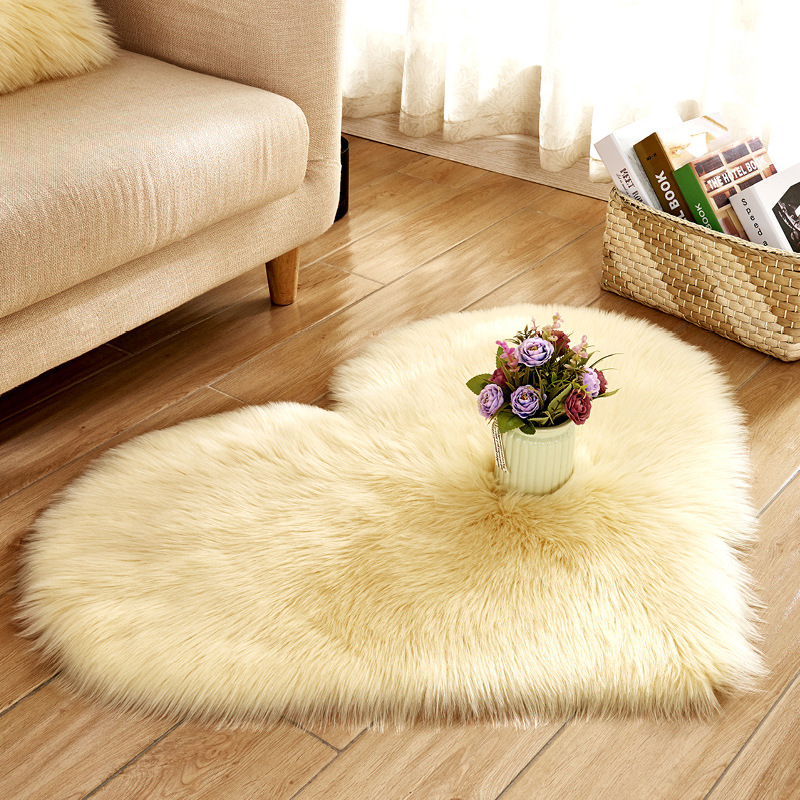 Cruelty Free Faux Leather Heart Shape Carpet for Home