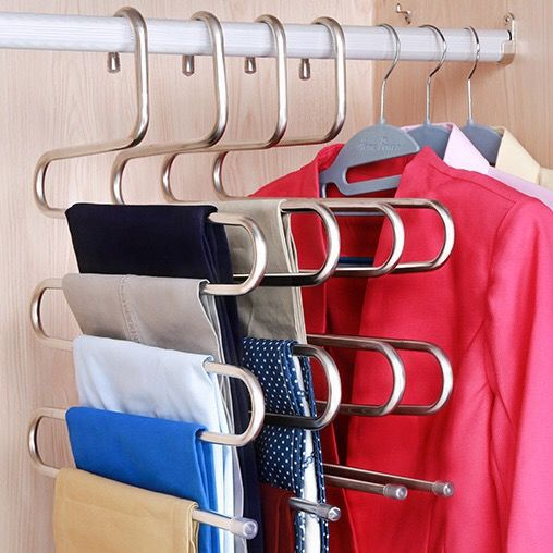 Useful Solid Color Multi-Layer Hanger for Organizing Trousers