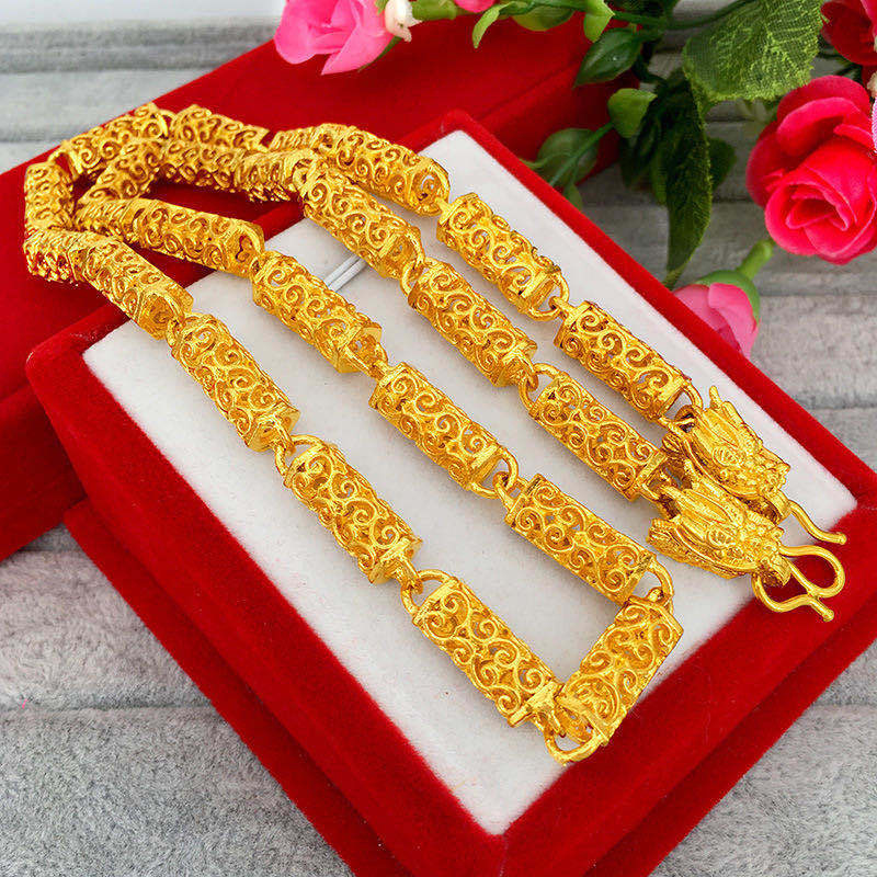 Yellow Gold Colored Alloy Necklace for Local Festivals