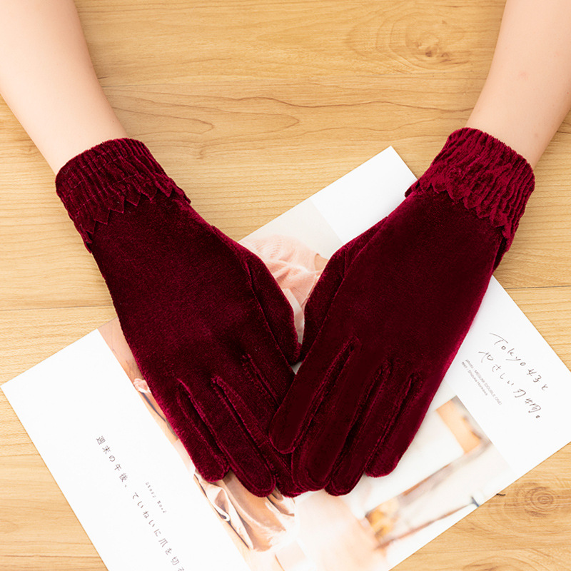 Accentuating Velvet Gloves for Special Occasions