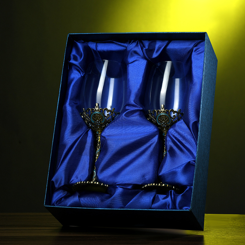 Classical Enamel Wine Glass for Silver Anniversary Gifts