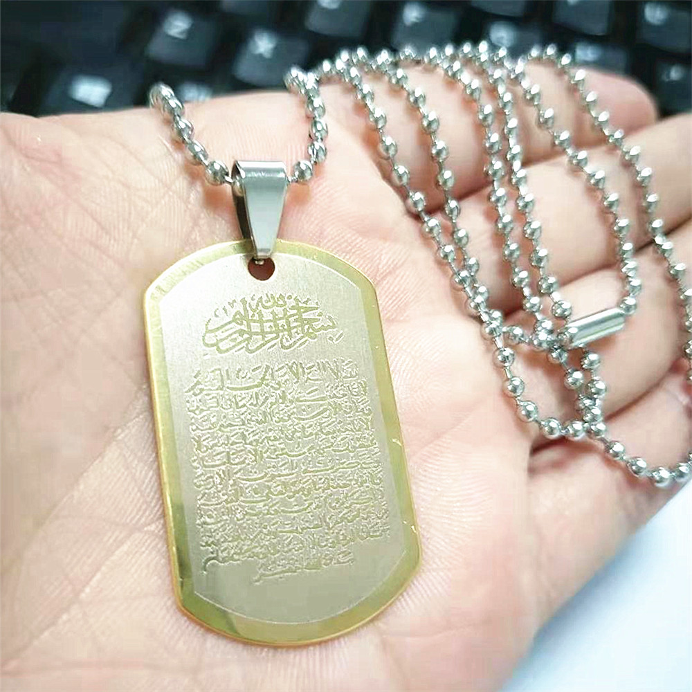 Text Stainless Steel Dog Tag Pendant Necklace for Cool Outfits