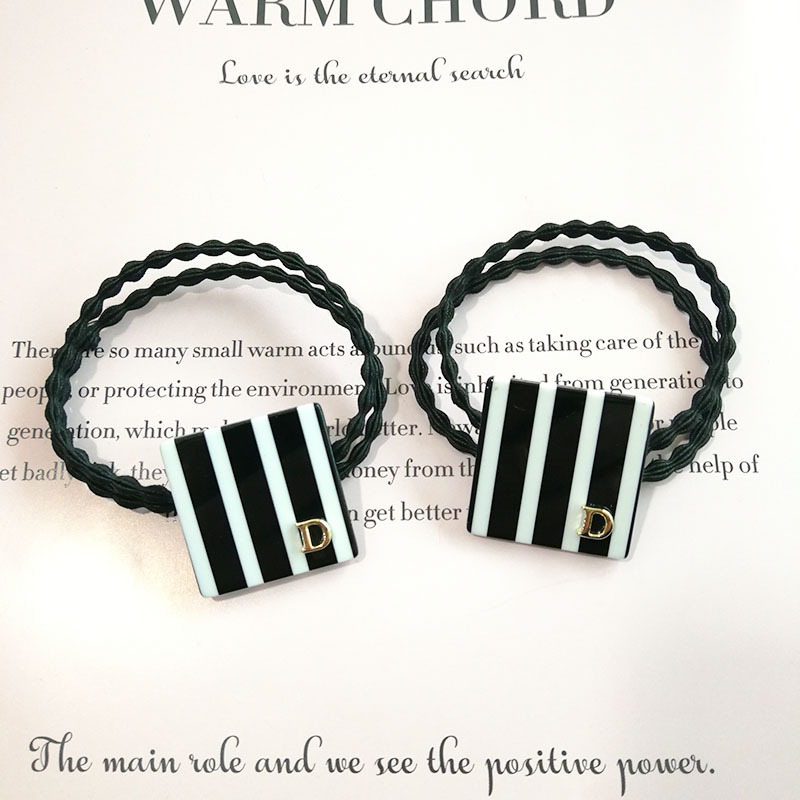 High-End Black and White Striped Hair Tie for Simple yet Fine Looks