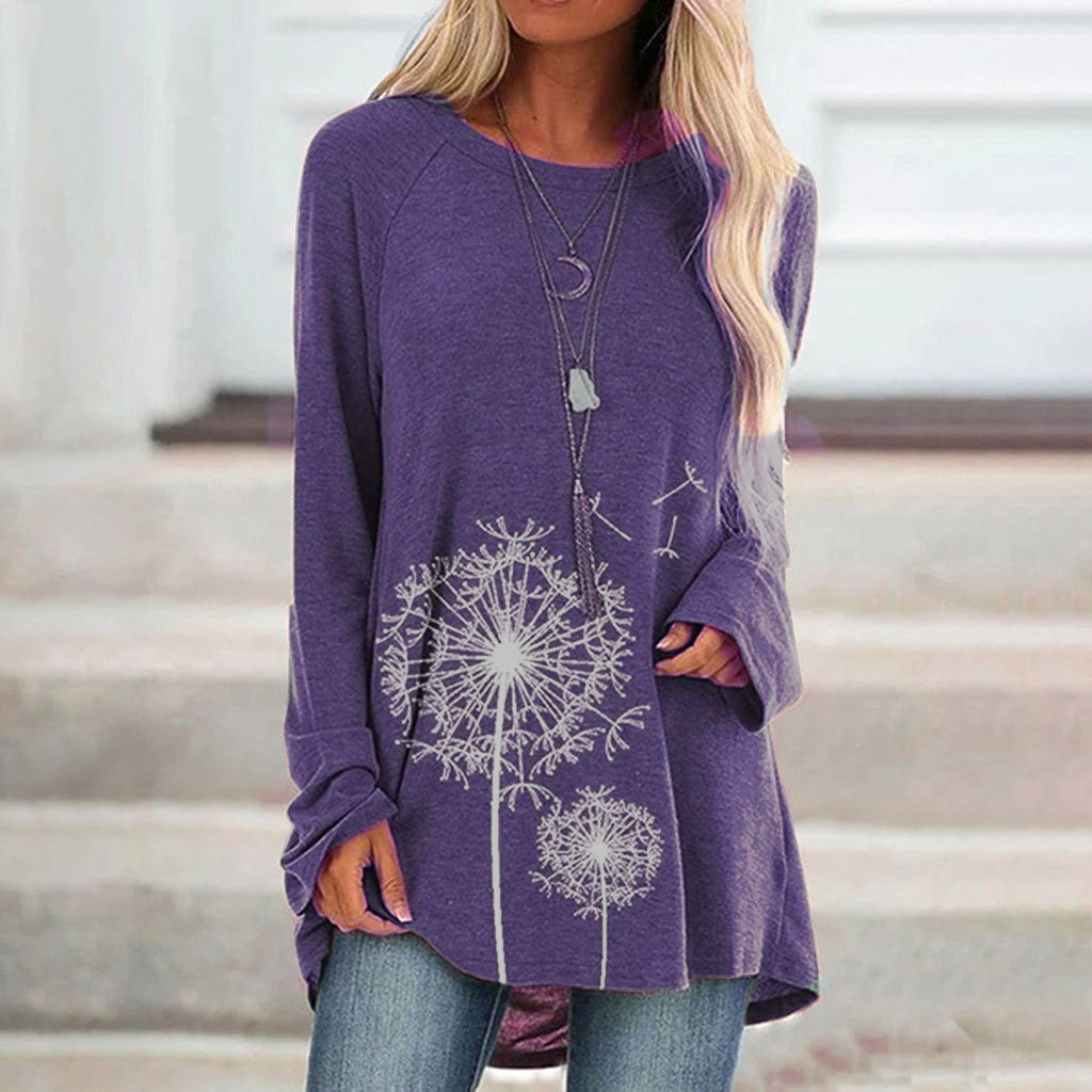 Cute Dandelion Long-sleeve T-shirt for Autumn and Winter