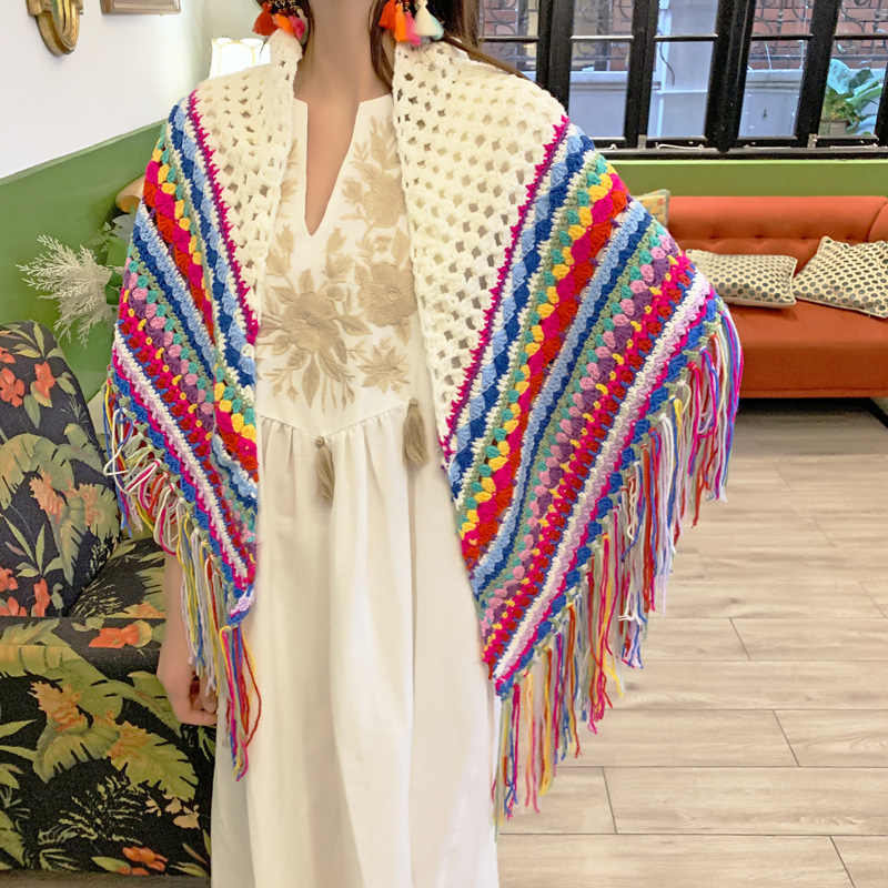 Decorative Crochet Fringed-Shawl for Bohemian Outfits