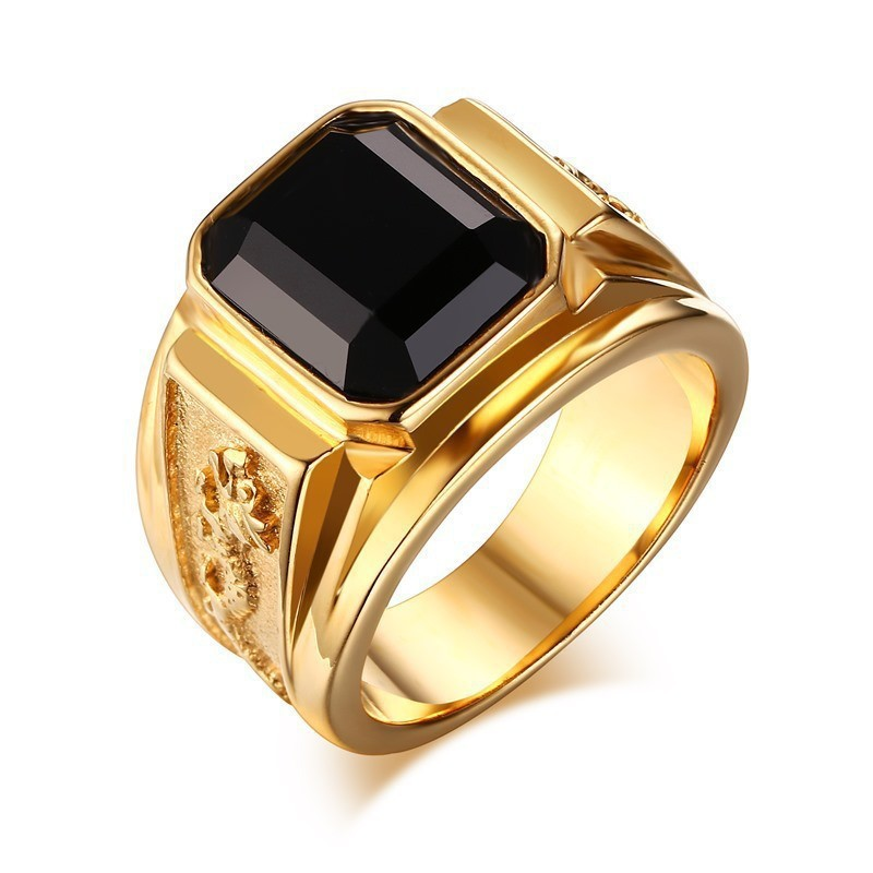 Funky Alloy Ring with Faux Black Stone for Street Fashion