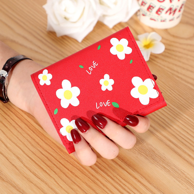 Charming Candy-Colored Flower Print Design Tri-Fold Wallet for Going to Night Markets
