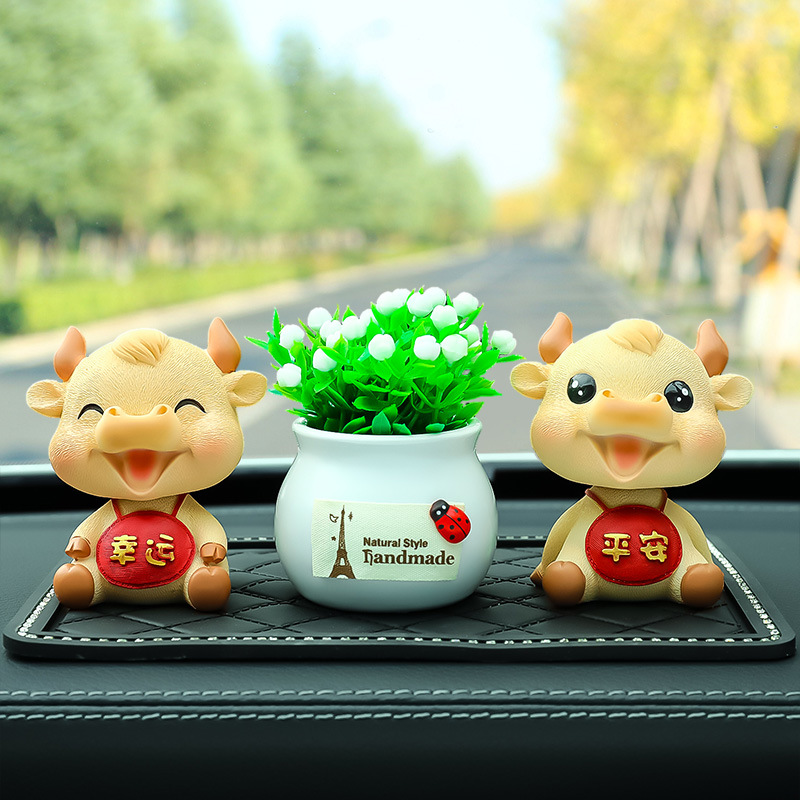 Super Cute Taurus Resin Car Decoration for Cars Lucky Charms