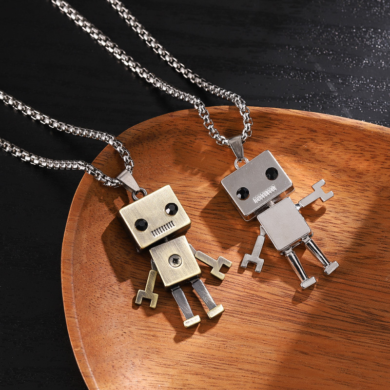 Special Robot Box Chain Necklace for Grafitti Hip-Hop Style Outfits
