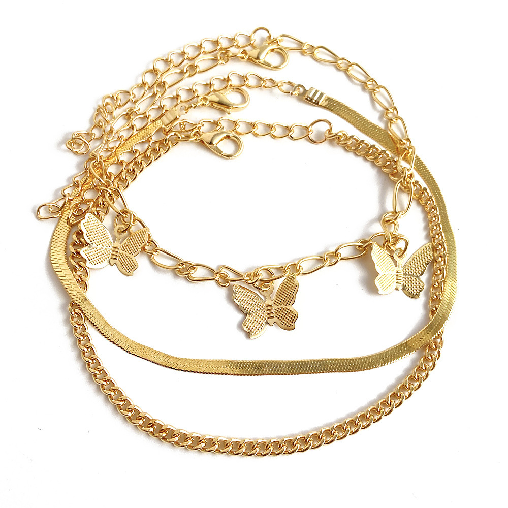 Aesthetic Triple Layer Golden Anklet with Butterfly Details for Sophisticated Look