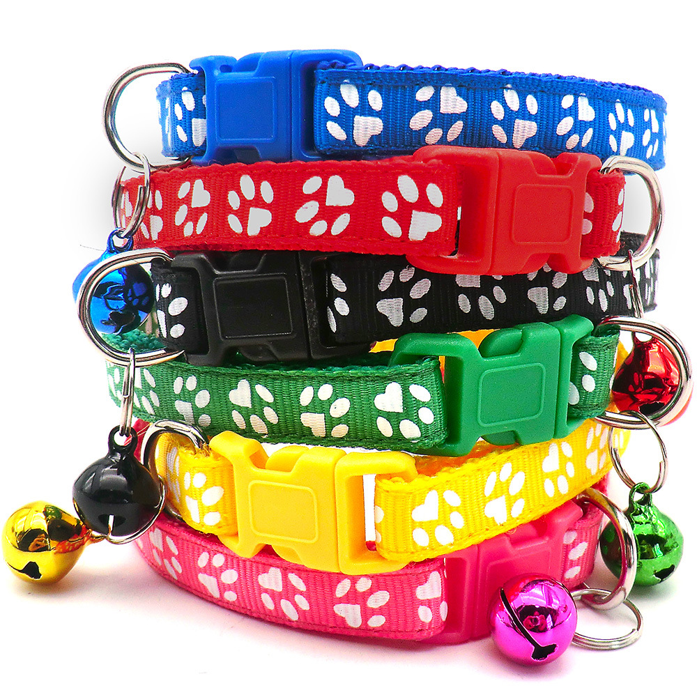 Simple Paw Print Pet Collar for Holding Pets' Identification Tag