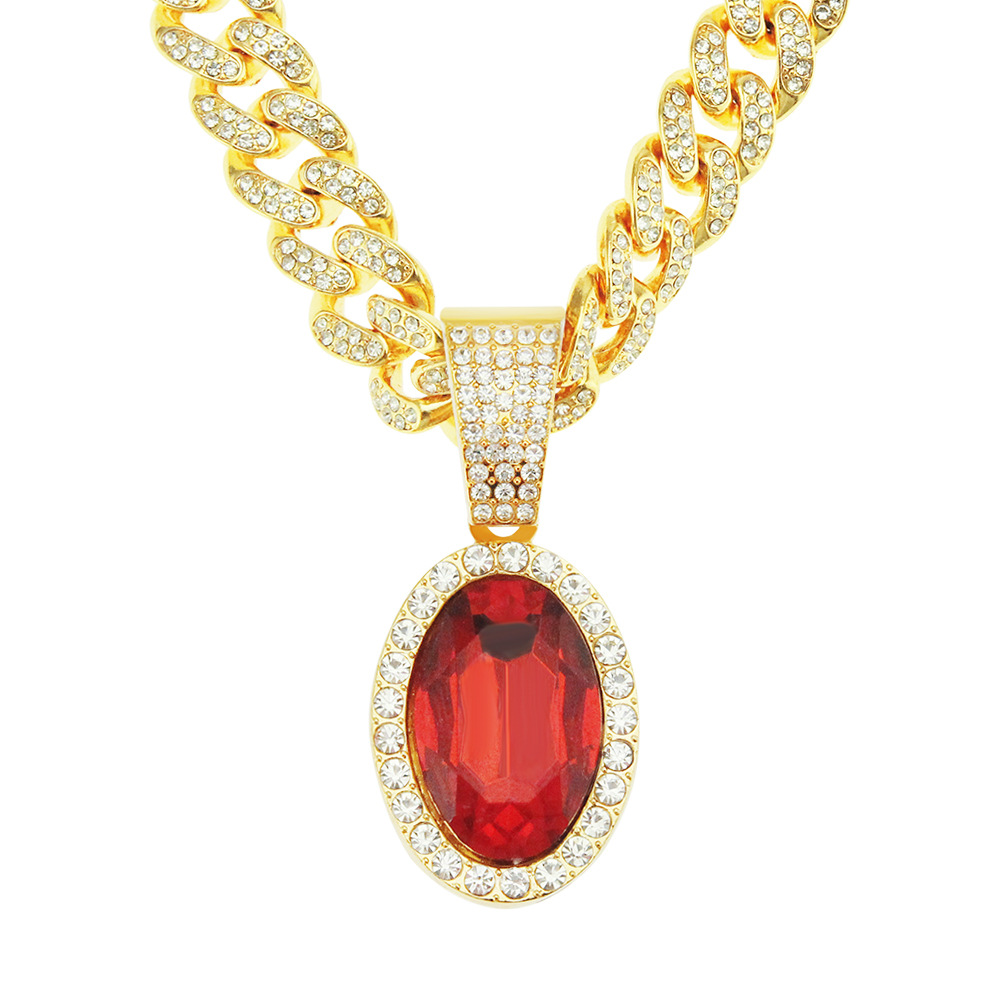 Classic Mimic Oval Ruby Pendant Diamond-Encrusted Cuban Chain Necklace to Match Hip-hop Fashion
