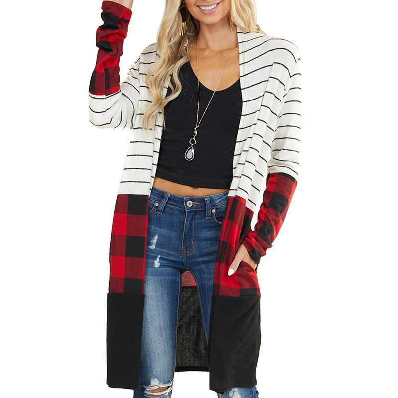 Unique Stripe and Animal Print Long Sleeve Cardigan for Winter and Fall