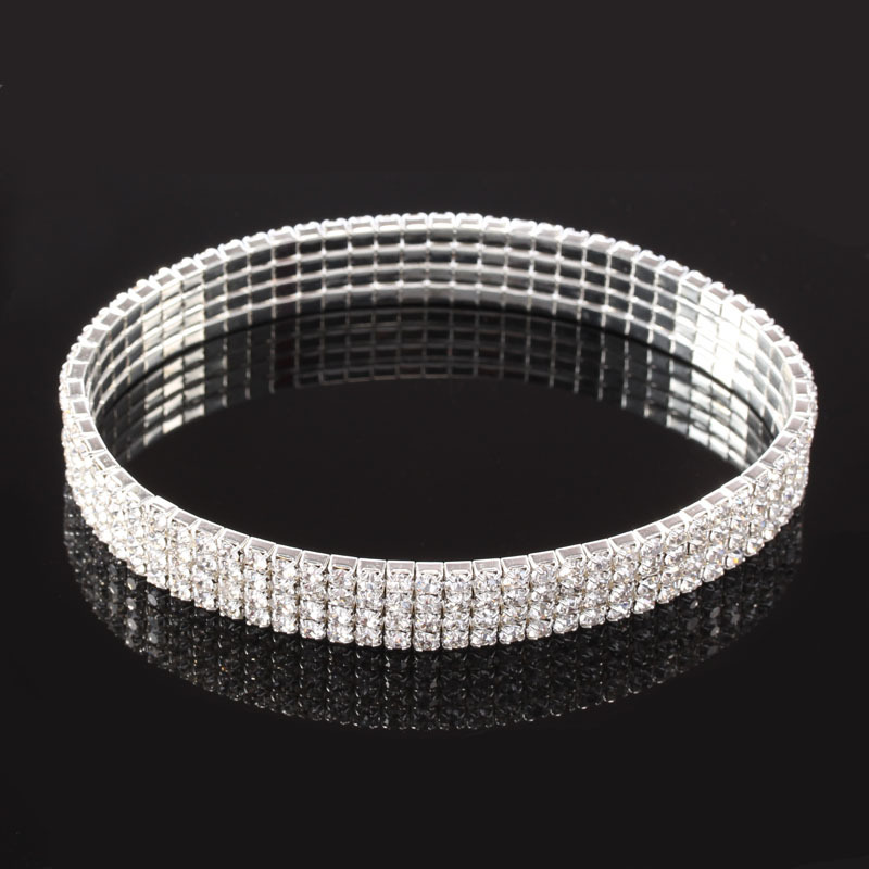 Shinning Alloy and Rhinestone Bangle Bracelet for Special Occasions