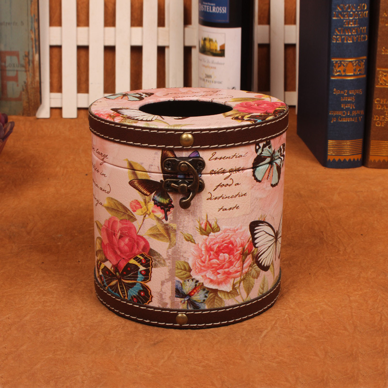Classic Style Antique Cylindrical Tissue Box for Gift