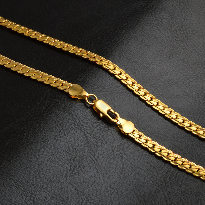 Fully Gold Plated Snake Chain Necklace for Sparkly Outfits