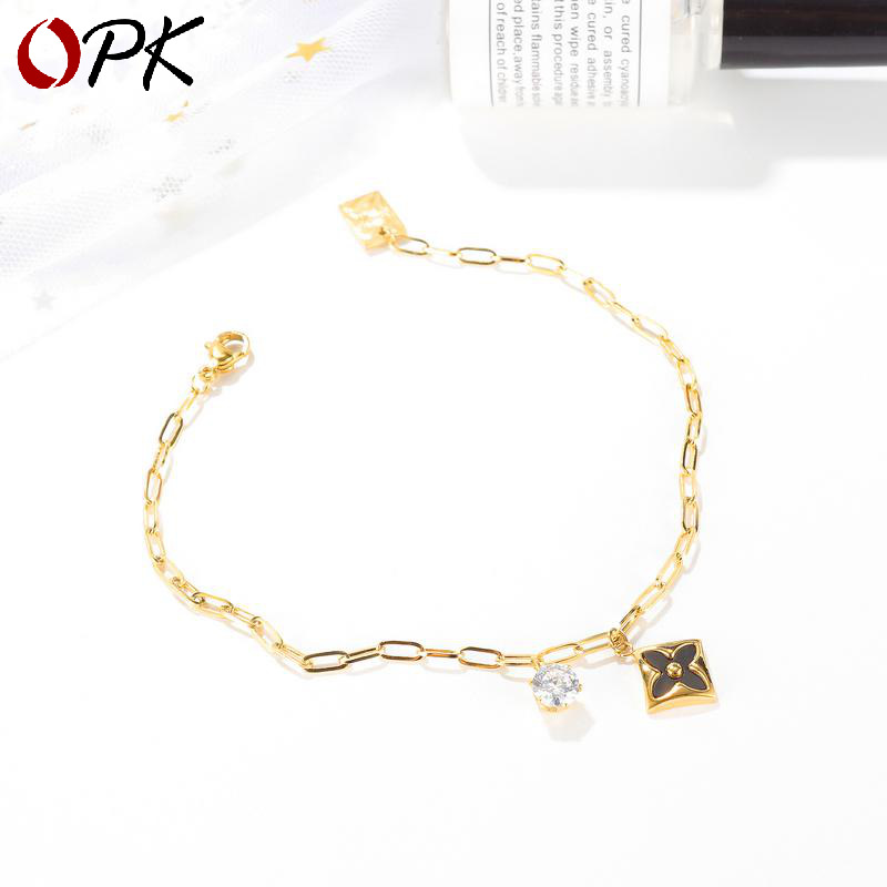 Gold-Plated Cable Chain Anklet with Simple Flower and Diamond Pendant for Ladies