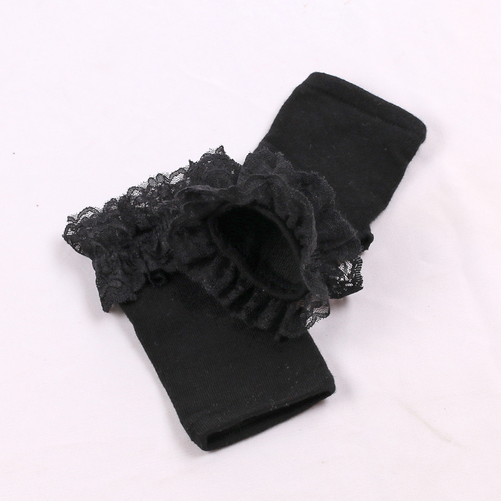 Stylish and Trendy Cotton Fingerless Gloves with Lace for Snowy Weather