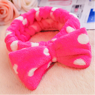 All-Around Stretchy Soft Polka Dot Bow Hairband for Face Wash Use