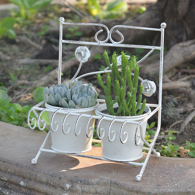 Simple Iron Rack for Succulent Plant Collection