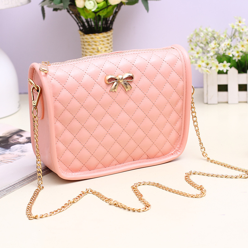 Adorable Quilted Bag with Ribbon Charm for Meeting with Friends