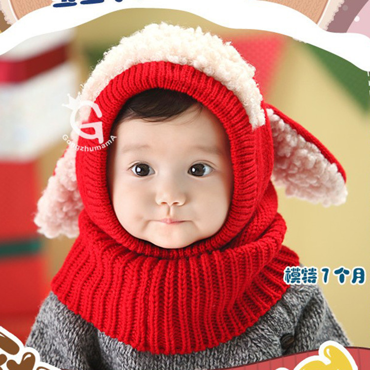 Cute Knitted Head Scarf for Keeping Babies' Heads Warm