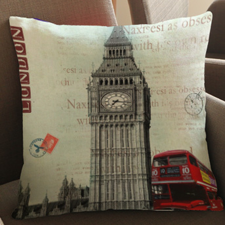 Retro Post Card Style Print Linen Pillowcase for Travel Themed Apartment