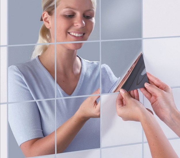 Removable Square-shaped Mirror Sticker for Bathroom Decoration