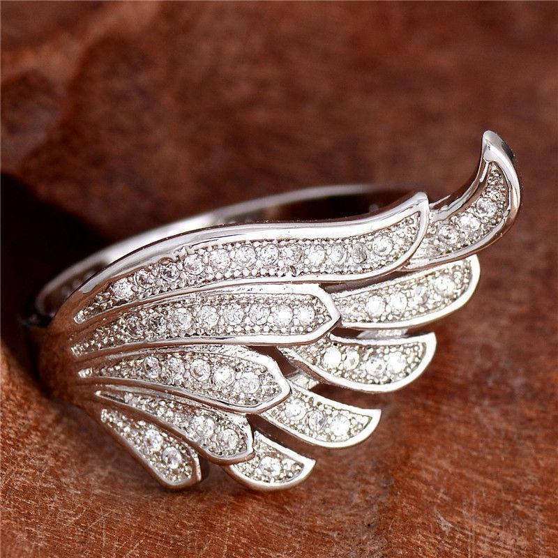 Detailed Angel's Wing Crystal Ring