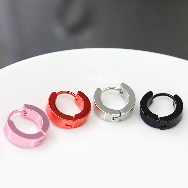 Colored Alloy Hoop Earrings for Casual Wear
