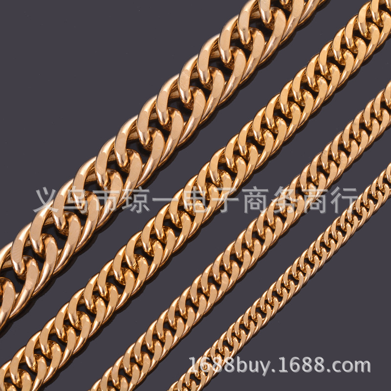 Gold Plated Stainless Steel Curb Chain Necklace for Casual and Party Wear