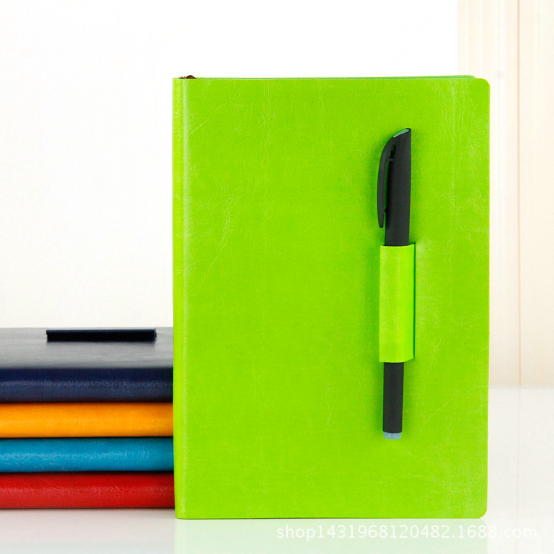 Shiny Faux Leather Notebook with Pen Holder for Gifts to Colleagues