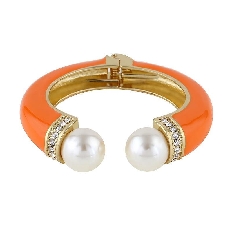 Pearl Ends Colored Open Bangle