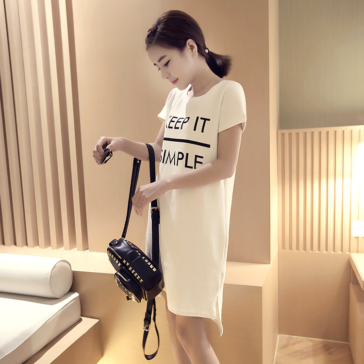 Simple Round Neck Short-Sleeve Dress for Casual Outfit
