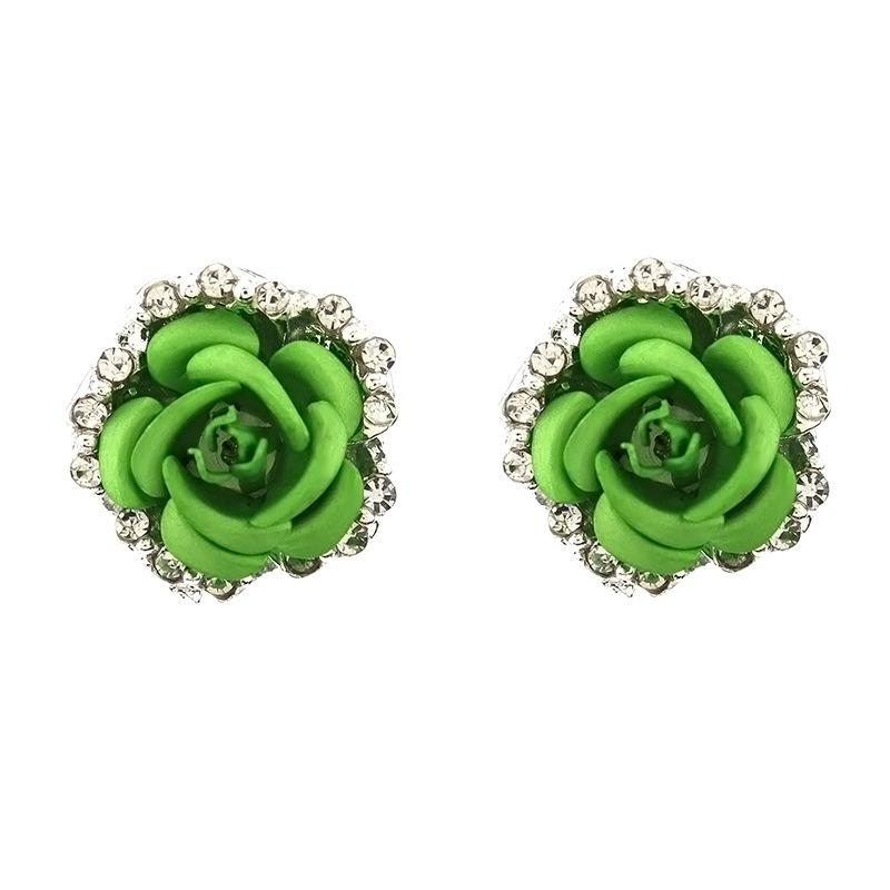 Colored Rose Stud Earrings