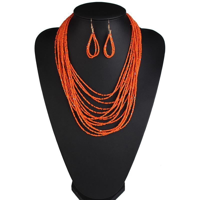 Multi-Layer Rice Beads Necklace Set