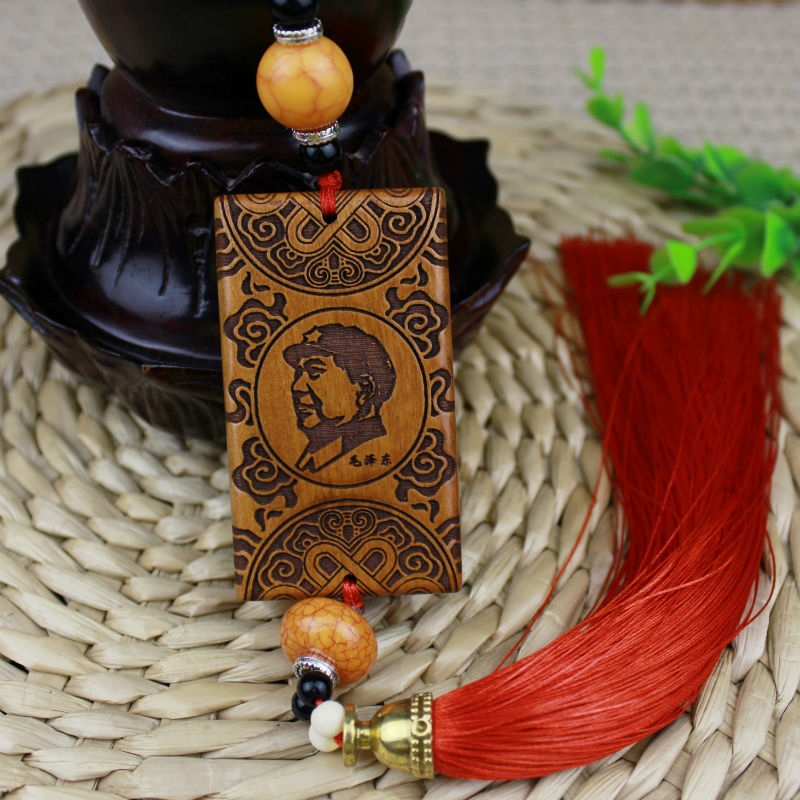 Intricate Wooden Hanging Ornament for Rearview Mirror