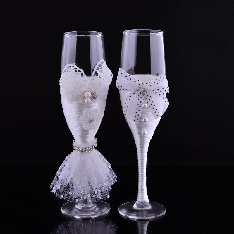 Ribbon and Lace Wedding Couple Wine Glass