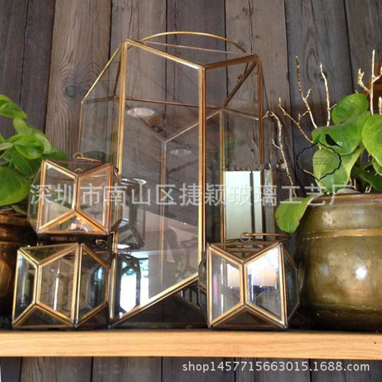 Minimalist Geometric Glass Candle Holders for Wedding Events Decorations