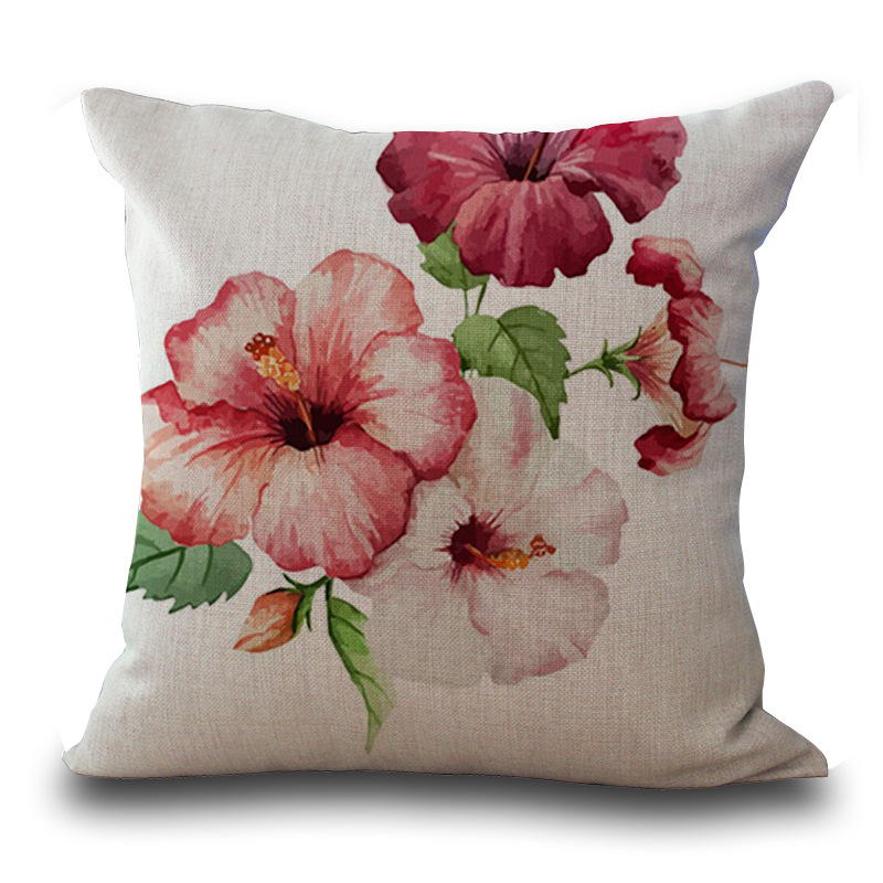 Floral Printed Throw Pillow Case for Living Room Sofas