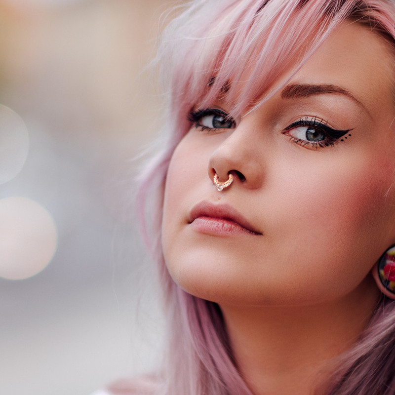 Classy Micro-Studded Nose Buckle Ring for Vintage and Chic Look