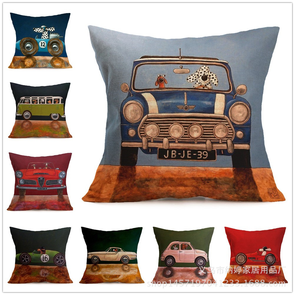 Car with Cartoon Animals Pillowcase for Children's Bed Pillows