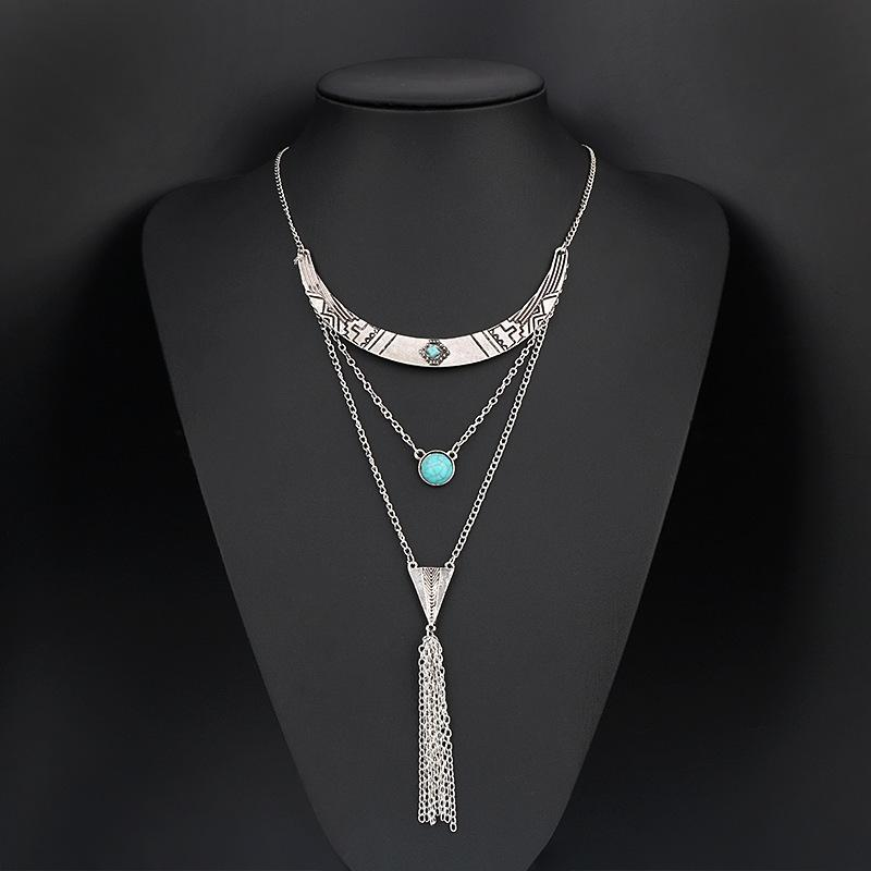 Half-Circle Turquoise Long Necklace