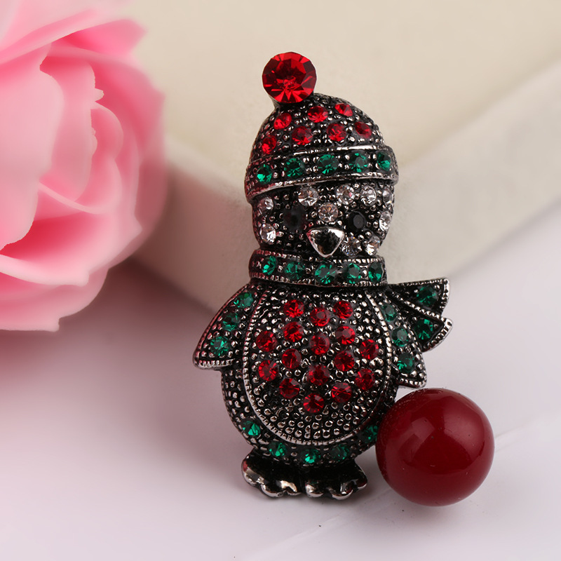 Embellished Christmas Scarf Icons Brooch for Cute Christmas Parties