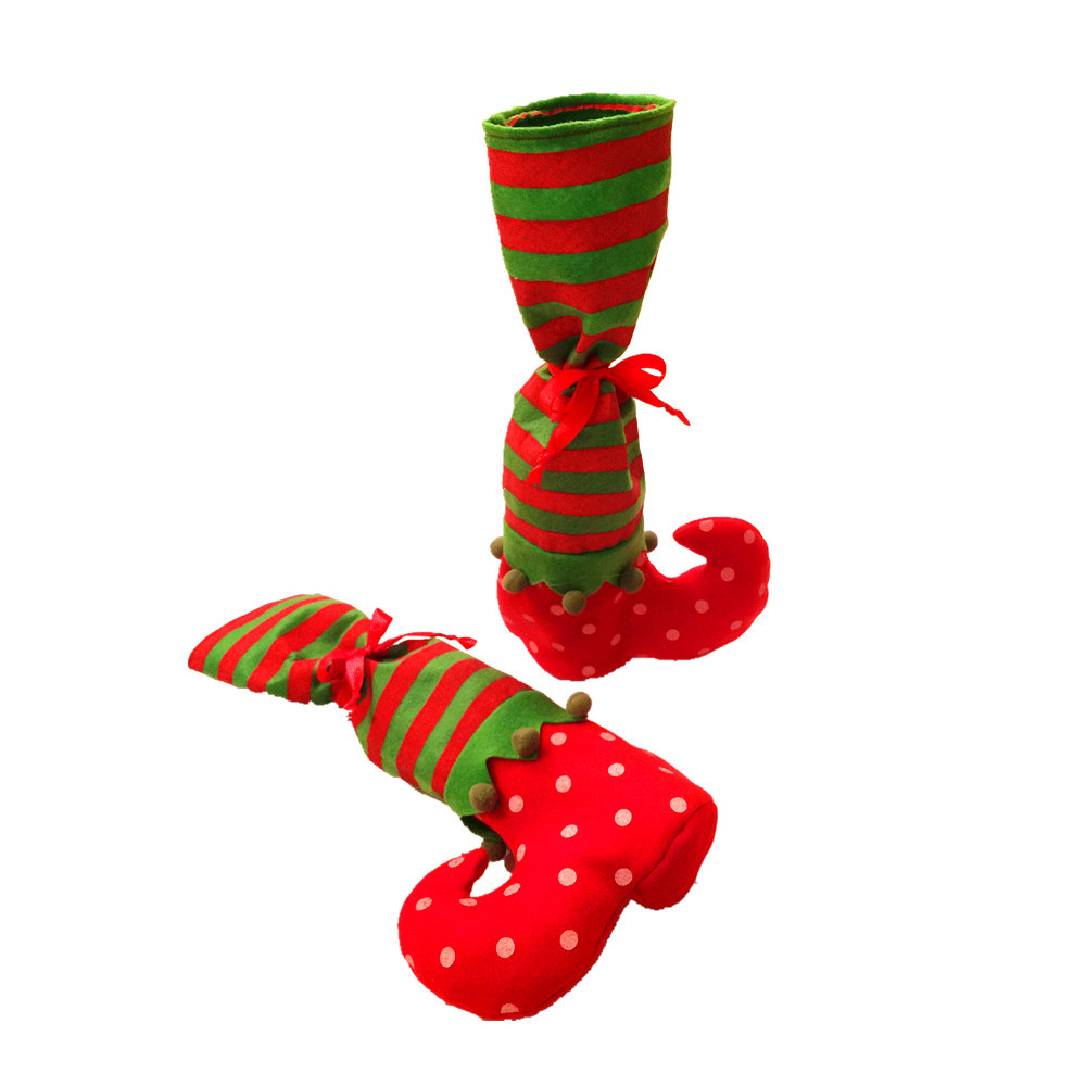 Creative Christmas Boot Wine Bottle Cover for Holiday Season