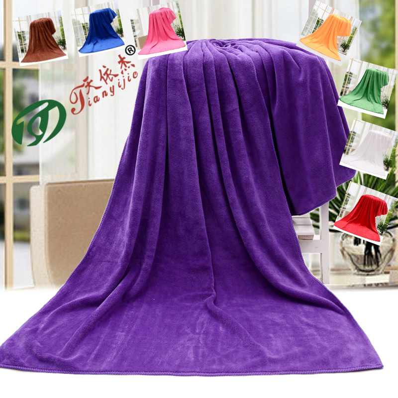 Thick Plain-Colored Beach Towel in Various Colors for Going to the Pool