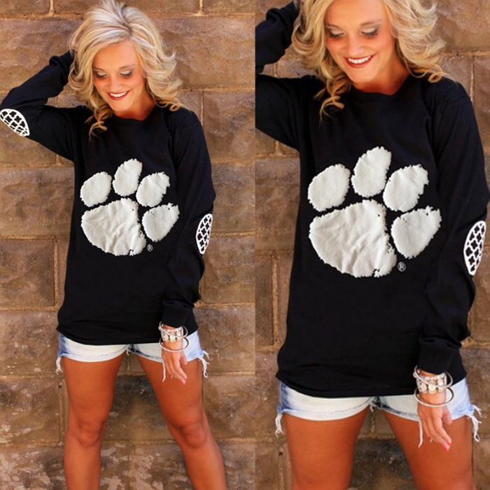 Lovely Paw Printed Long-Sleeved Sweater for Pet Lovers